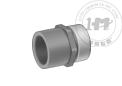 厚壁帶不銹鋼擋圈加強型深灰色PVC螺紋管接頭